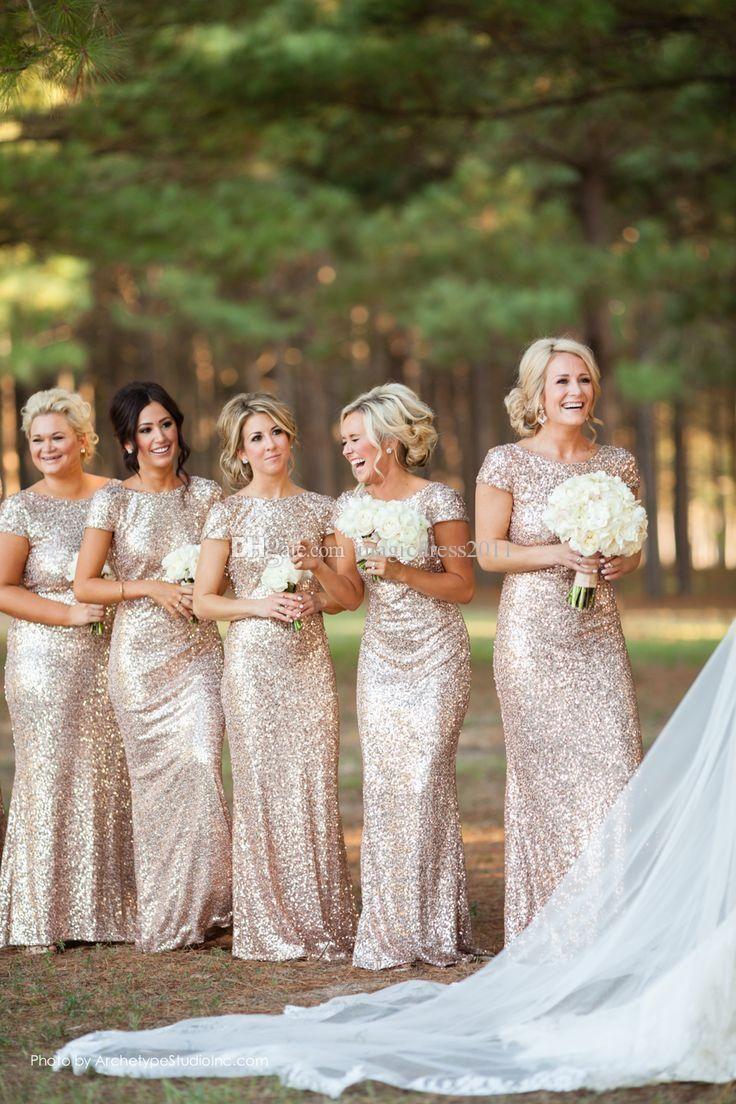 gold bridesmaid dresses bling rose gold cheap 2015 mermaid bridesmaid dresses short sleeve sequins  backless floor-length beach KSGURJO