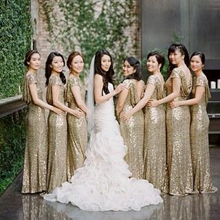 gold bridesmaid dresses | brides VDOTJUO