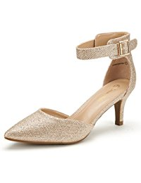 gold pumps dream pairs lowpointed new womenu0027s evening dress low heel ankle strap  du0027orsay pointed toe ONGIDMK