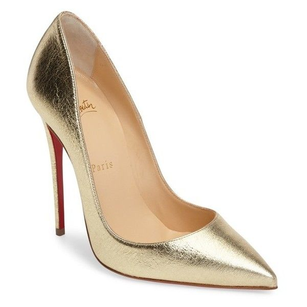 gold pumps womenu0027s christian louboutin so kate pointy toe pump found on polyvore  featuring shoes, pumps, STOFNMN