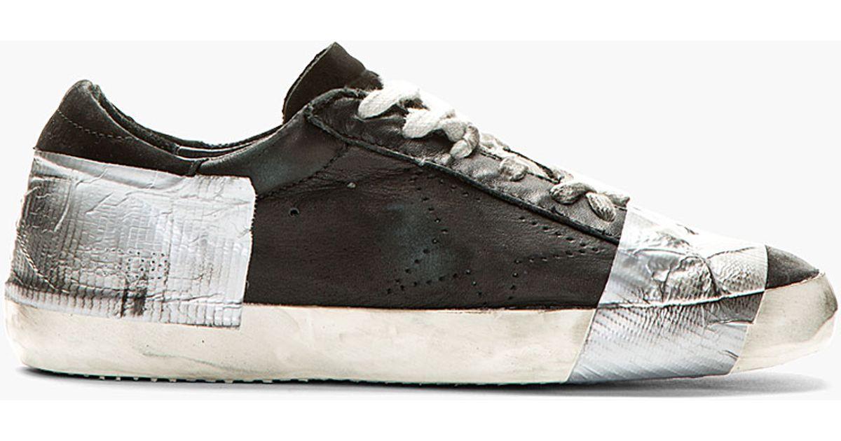 golden goose sneakers golden goose deluxe brand black duct tape distressed superstar sneakers in  black for men NPOEVJZ