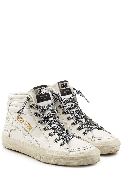 golden goose sneakers slide high-top sneakers with leather | golden goose QJBTKAM