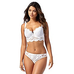 gorgeous dd+ - white lace longline underwired padded balcony bra KDCZODH