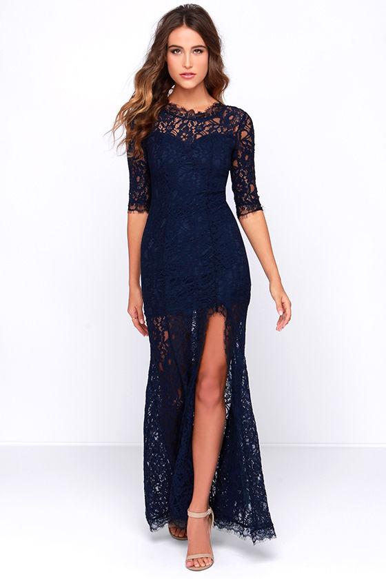 gorgeous navy blue dress - lace dress - half sleeve dress - maxi dress - DHOKBAX