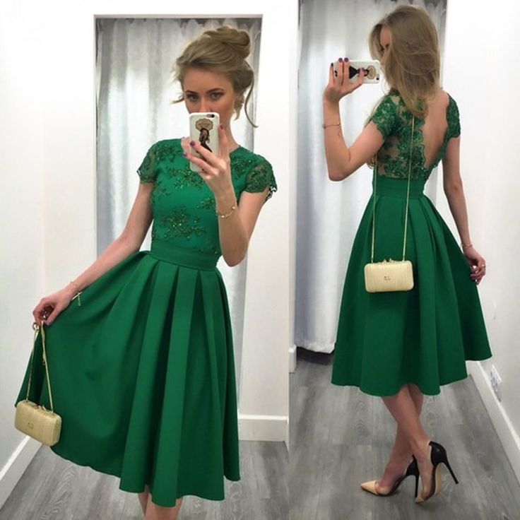 green dresses backless knee length short lace coc. lace formal dressesdark green ... OQPVVAC