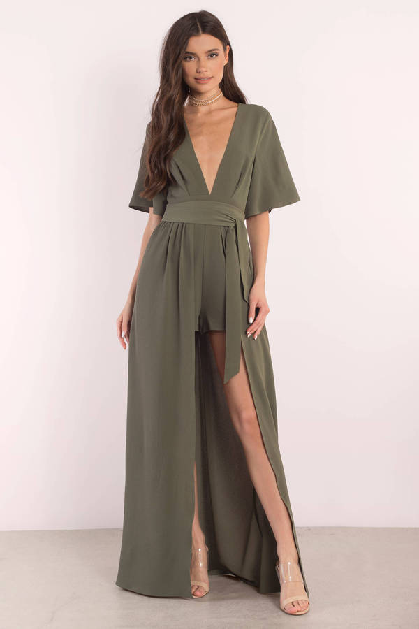 green dresses, olive, rebecca front tie romper dress, ... KDEIUXJ