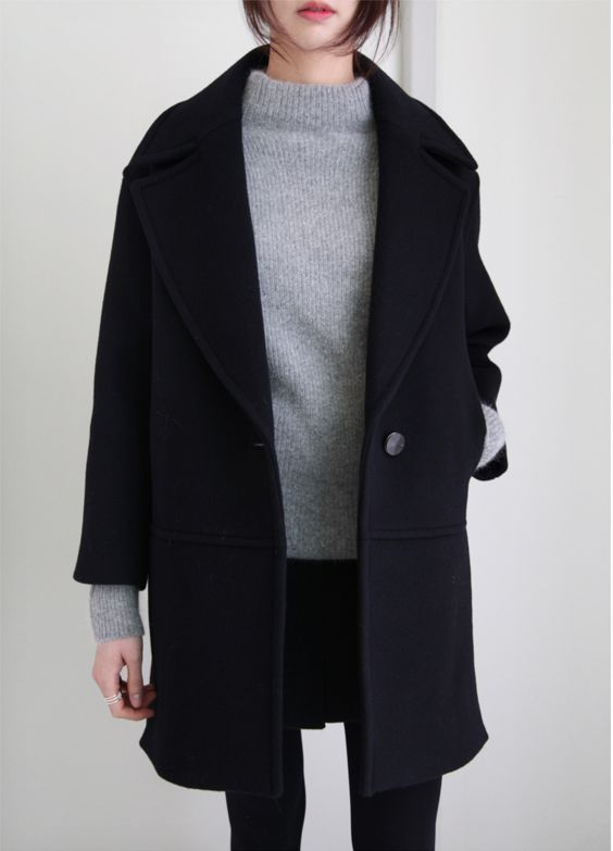 grey jumper black skinny jeans and oversize wool black coat LXKQNZS