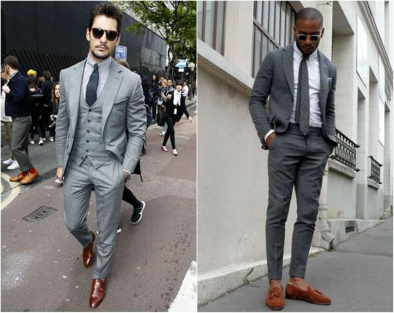grey suit brown shoes men look david gandy BPCJVWN