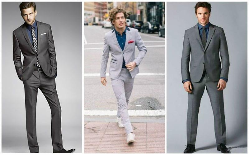 grey suit navy shirt LQVJYBO