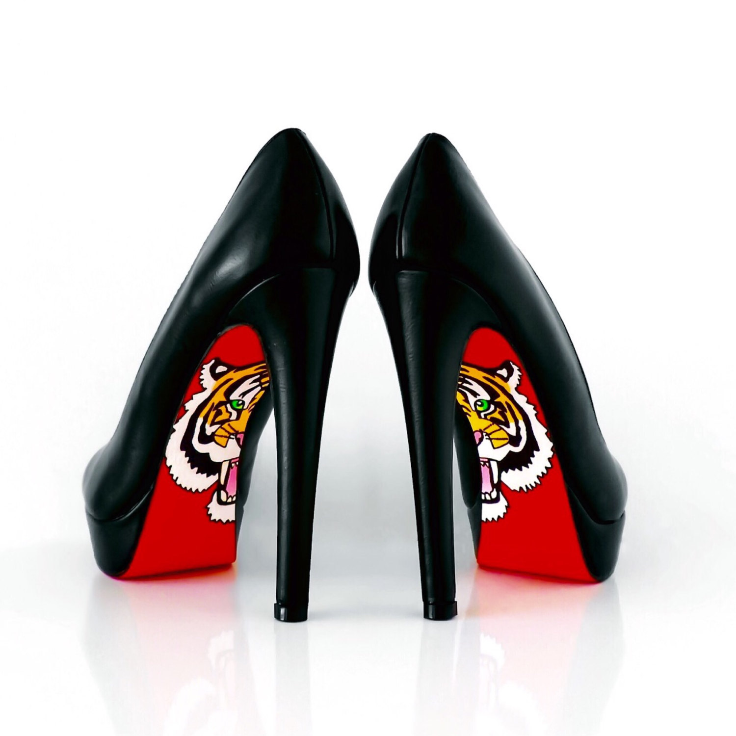 hand painted shoes - heels - red bottom shoes with tiger design - hand EFNKVRX