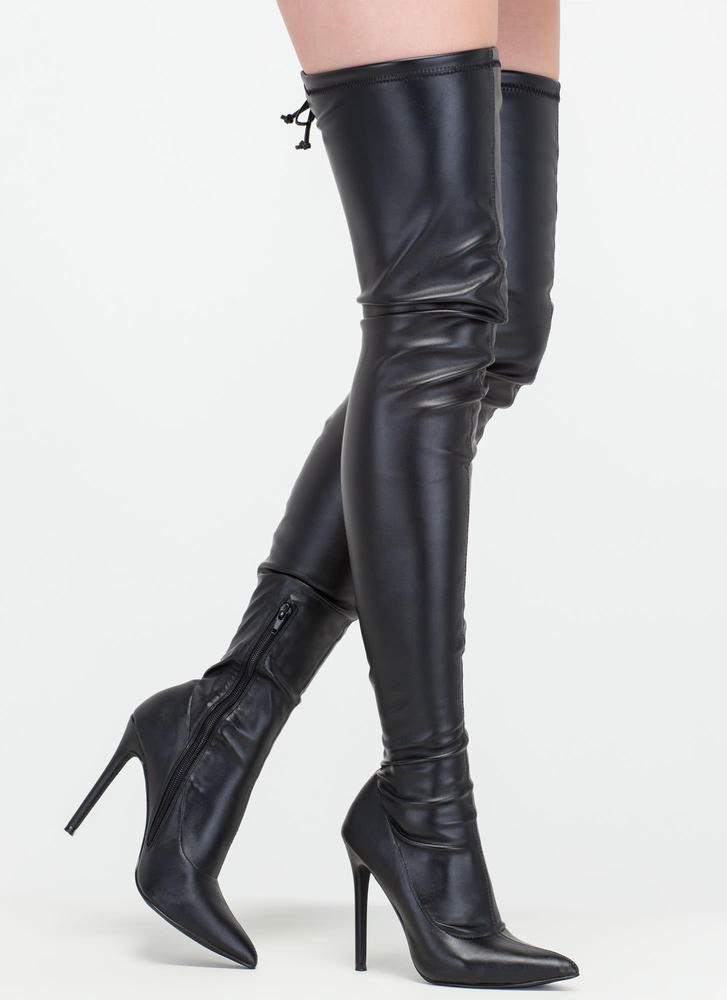 high heel boots crush hard faux leather thigh-high boots black ... QUSYQBW