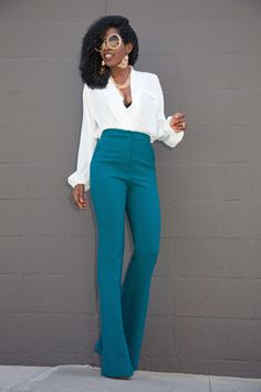 high waisted pants faux wrap blouse x high waist trousers UWZHZBT