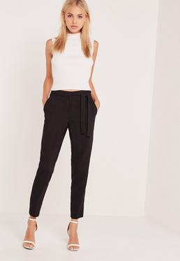 high waisted pants tie belt crepe high waist pants black USWBBPC