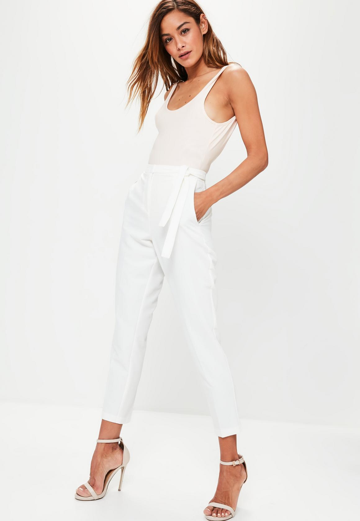 high waisted pants tie belt crepe high waist pants white HLHFBCM