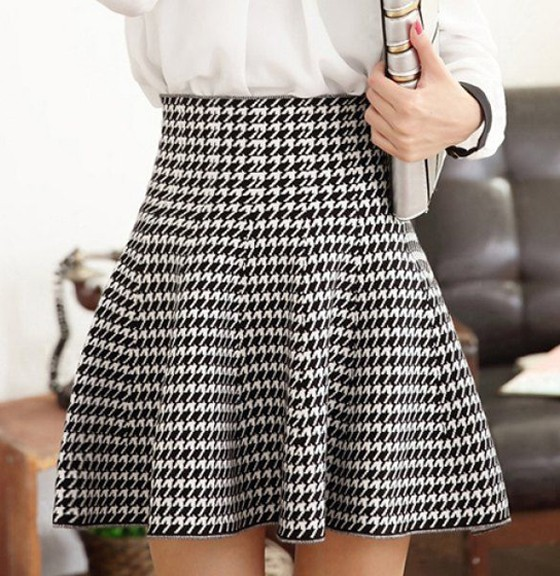high waisted skirts black-white houndstooth ruffle high waisted skirt VIBYRFF