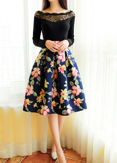 high waisted skirts i like the floral print high waist flare pleated midi skirt more QZEJGUN