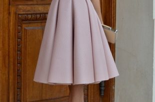 high waisted skirts pink plain pleated vintage high waisted knee length skirt AFQWRIQ