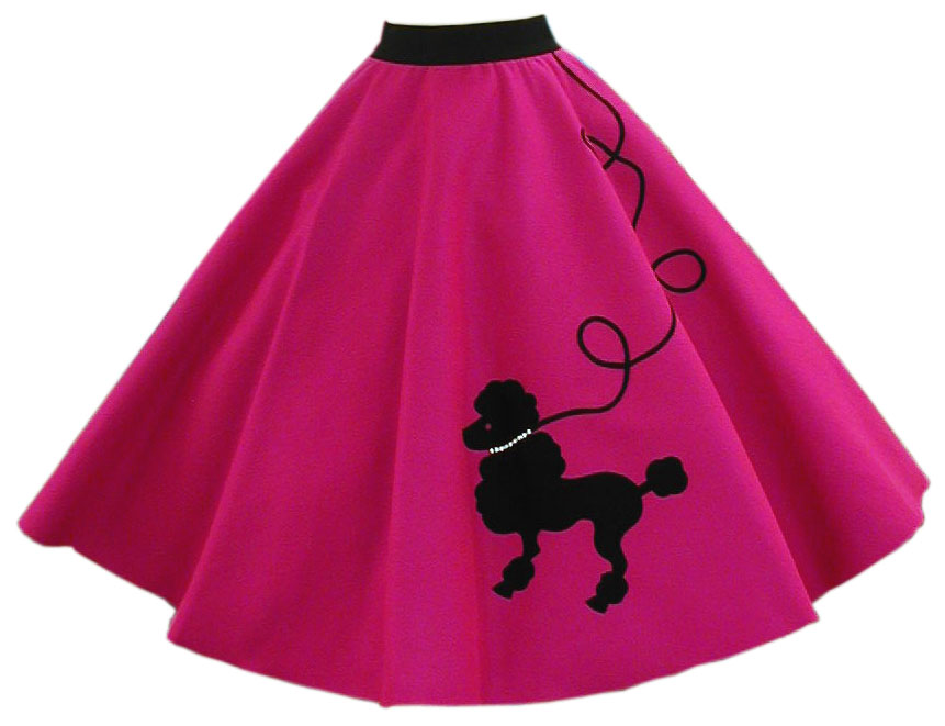 hot pink poodle skirt w/ black dog and leash MABMUCL