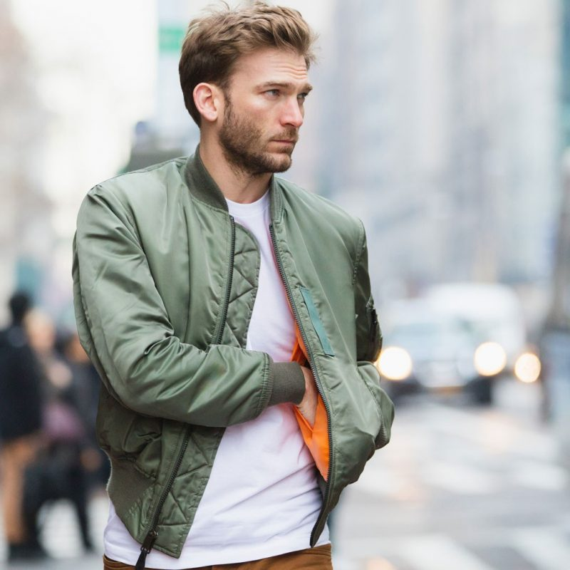 how to wear a bomber jacket men ZQOAEDI