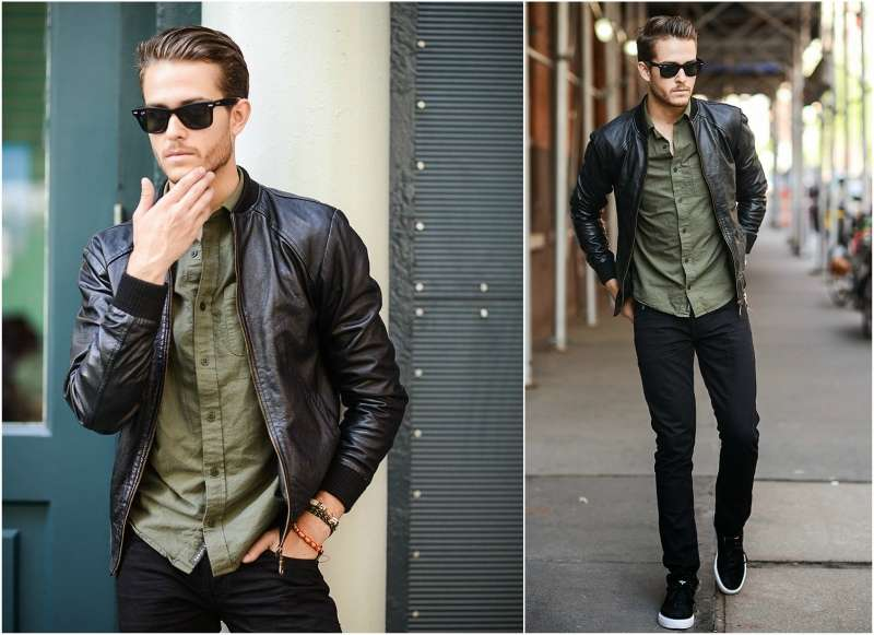 how to wear a leather bomber jacket men JVHZMGA