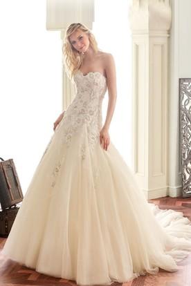 ivory wedding dresses a-line appliqued sleeveless sweetheart long tulleu0026lace wedding dress ... ZZRAGIQ