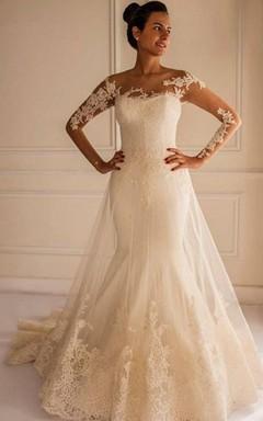 ivory wedding dresses chic lace appliques mermaid tulle wedding dress 2016 court train NBJZMUF