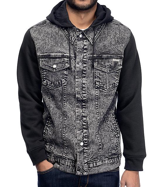 jean jackets dravus hudson black u0026 charcoal denim jacket DFJXVDA