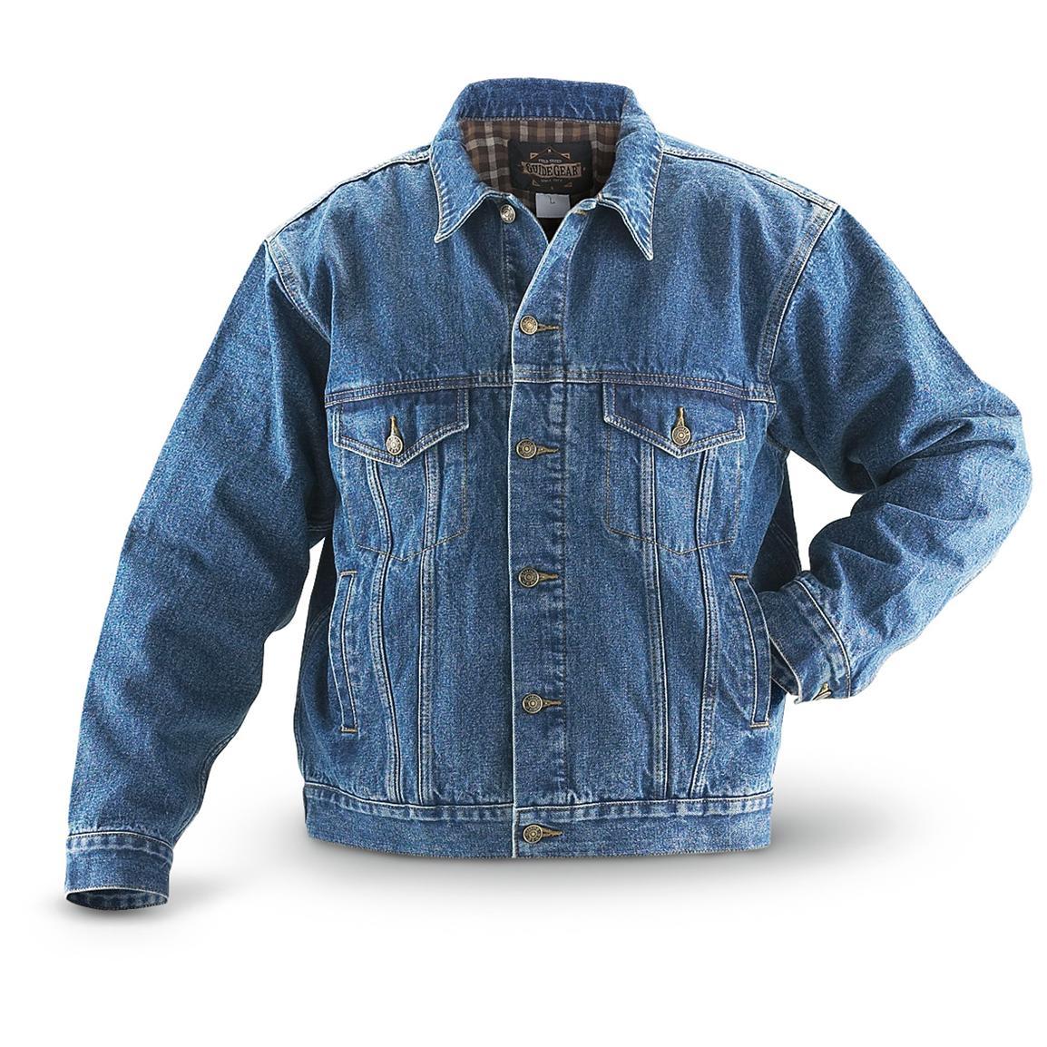 jean jackets guide gear flannel-lined denim jean jacket, stonewash VWDYSSP