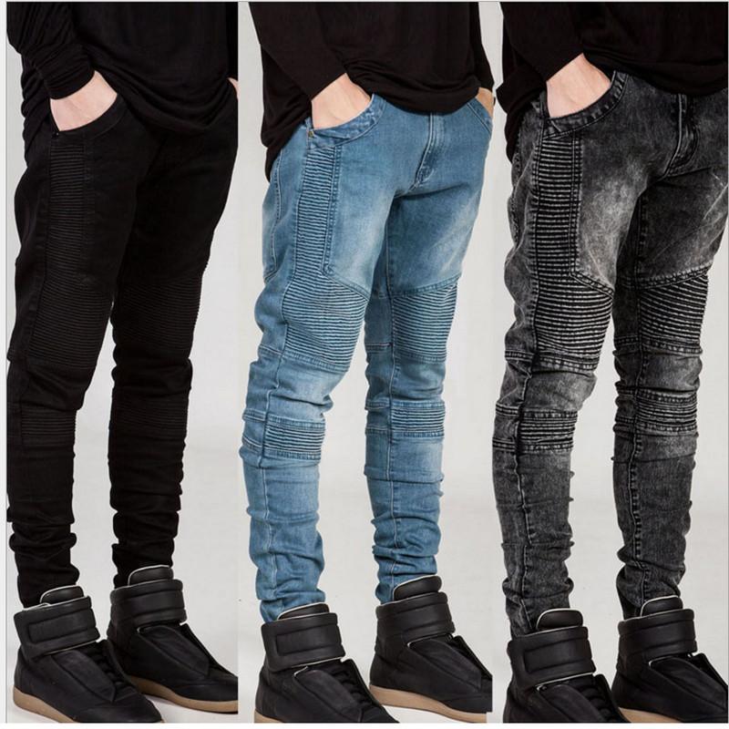 jeans for men mens skinny jeans men 2016 runway distressed elastic jeans denim washed  black blue jeans NVYPGSF