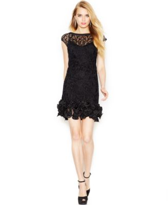 jessica simpson dresses jessica simpson floral-lace ruffled-hem sheath FPAUAPH