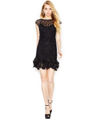 jessica simpson dresses jessica simpson floral-lace ruffled-hem sheath PDCJDVS