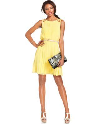 jessica simpson dresses jessica simpson sleeveless belted pleated dress AWIVENW