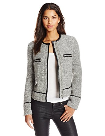 joie womenu0027s foxworthy knitted boucle jacket, light grey, small DZEQFHJ