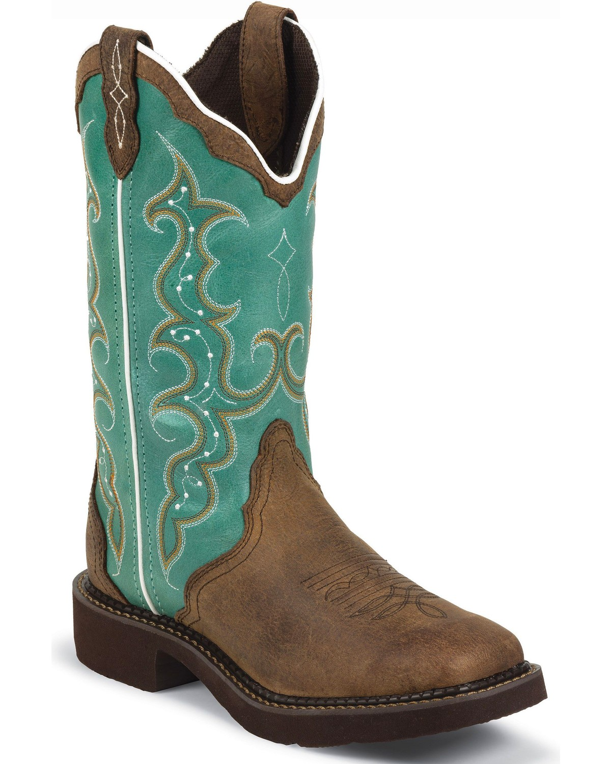 justin boots for women justin gypsy turquoise cowgirl boots - square toe, aged bark, hi-res FIAULNK