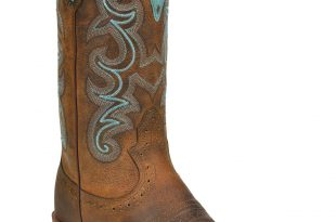 justin boots for women justin silver blue embroidered cowgirl boots - square toe, brown, hi-res ISHJUMK