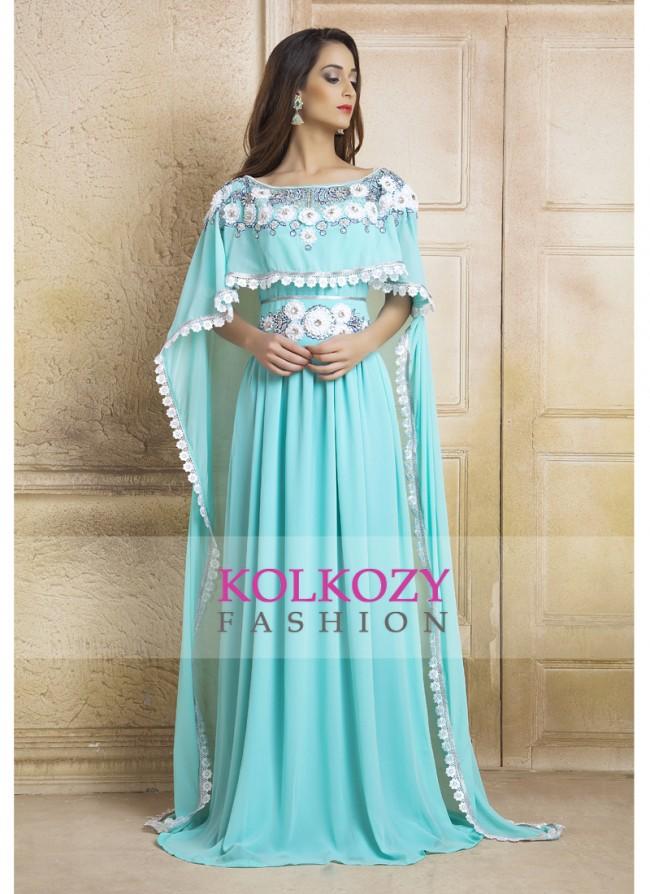 kaftan dresses blue color kaftan dress-georgette hand beaded designer kaftan and ribbon  work KFZTUNO