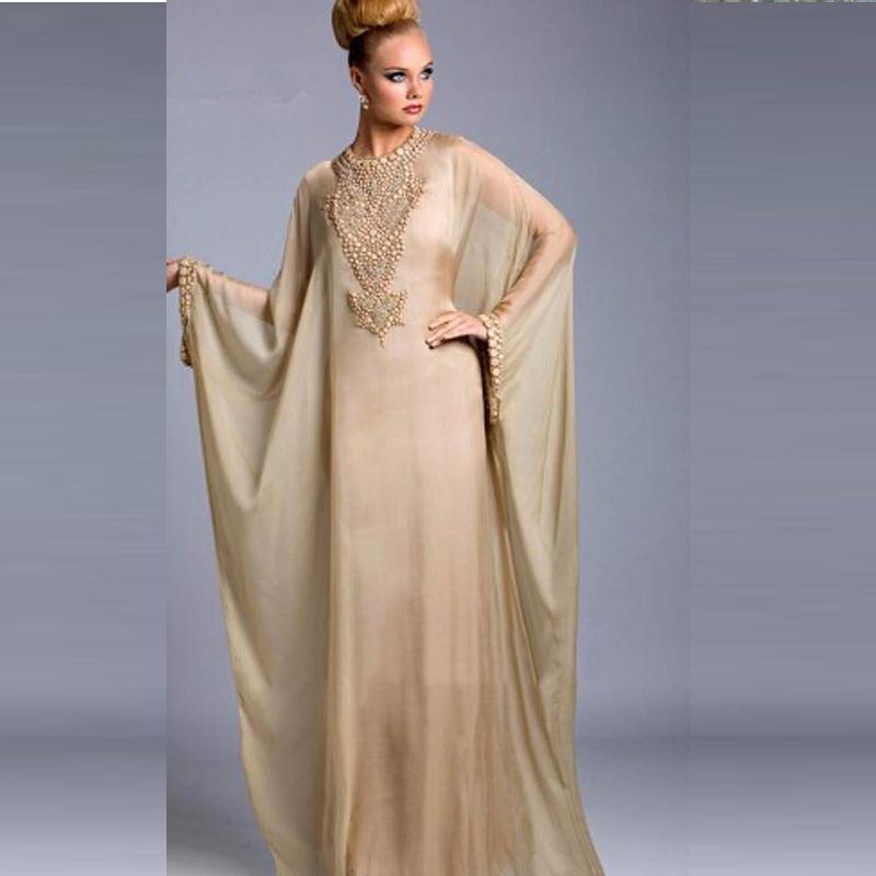 kaftan dresses graceful dubai kaftan dress abayas for sale champagne chiffon beaded long  sleeves prom dresses XBJLAPS