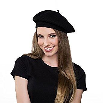 kangaroo wool black beret hat - french beret UZIJFXN