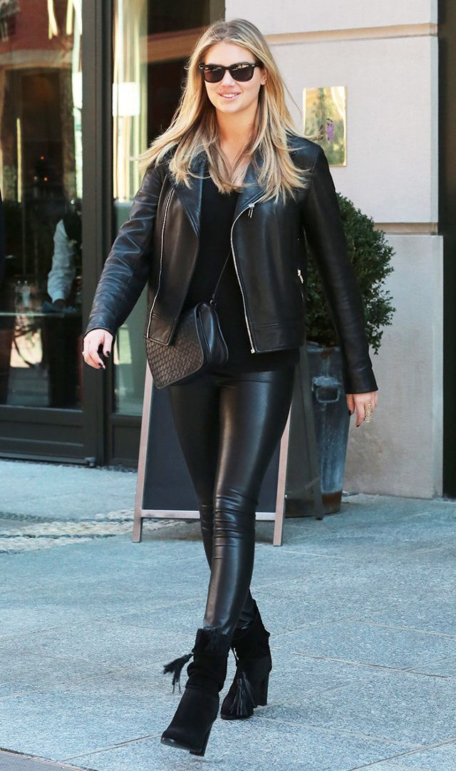 kate upton in leather pants, ankle boots, and leather jacket JWUSELB