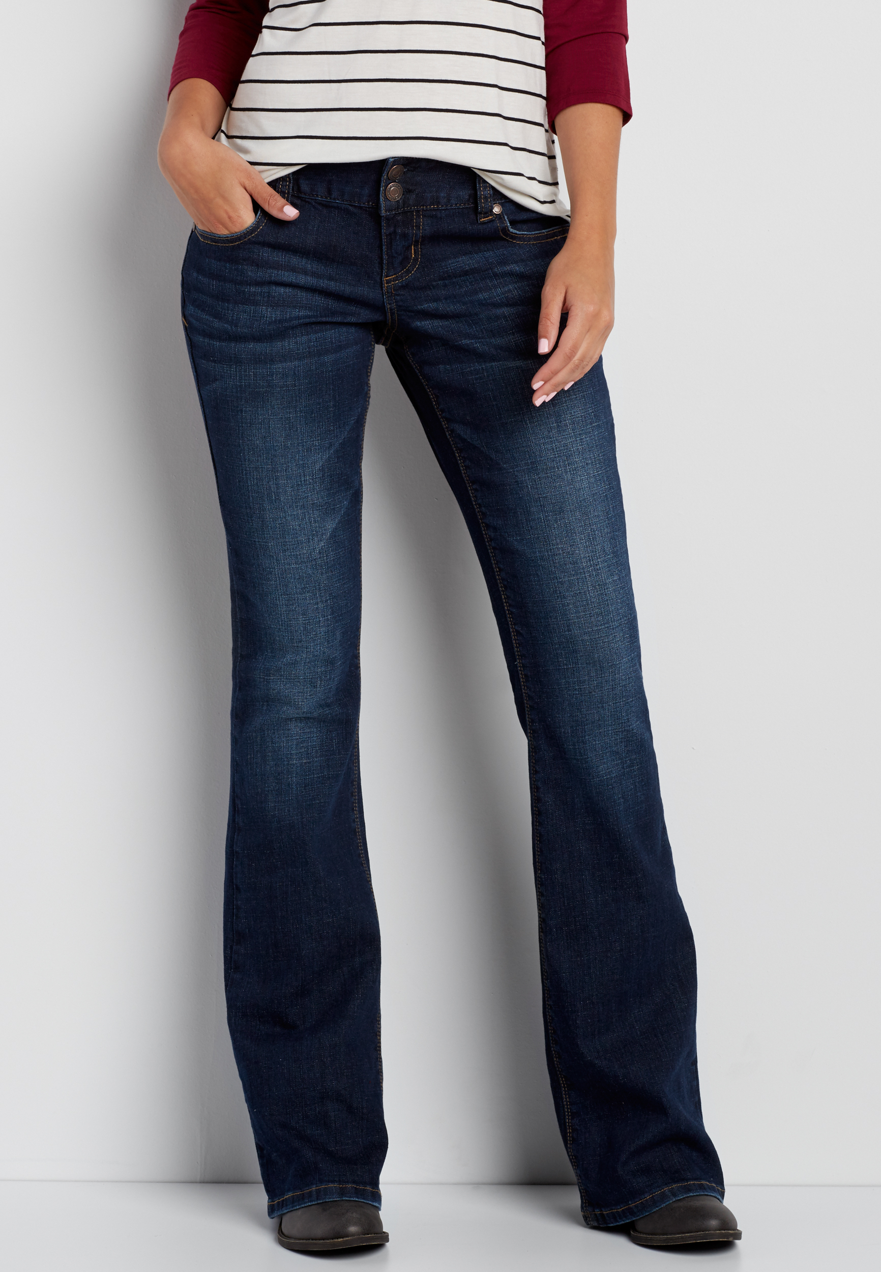 kaylee two button flare jeans in dark wash EUDKGSV