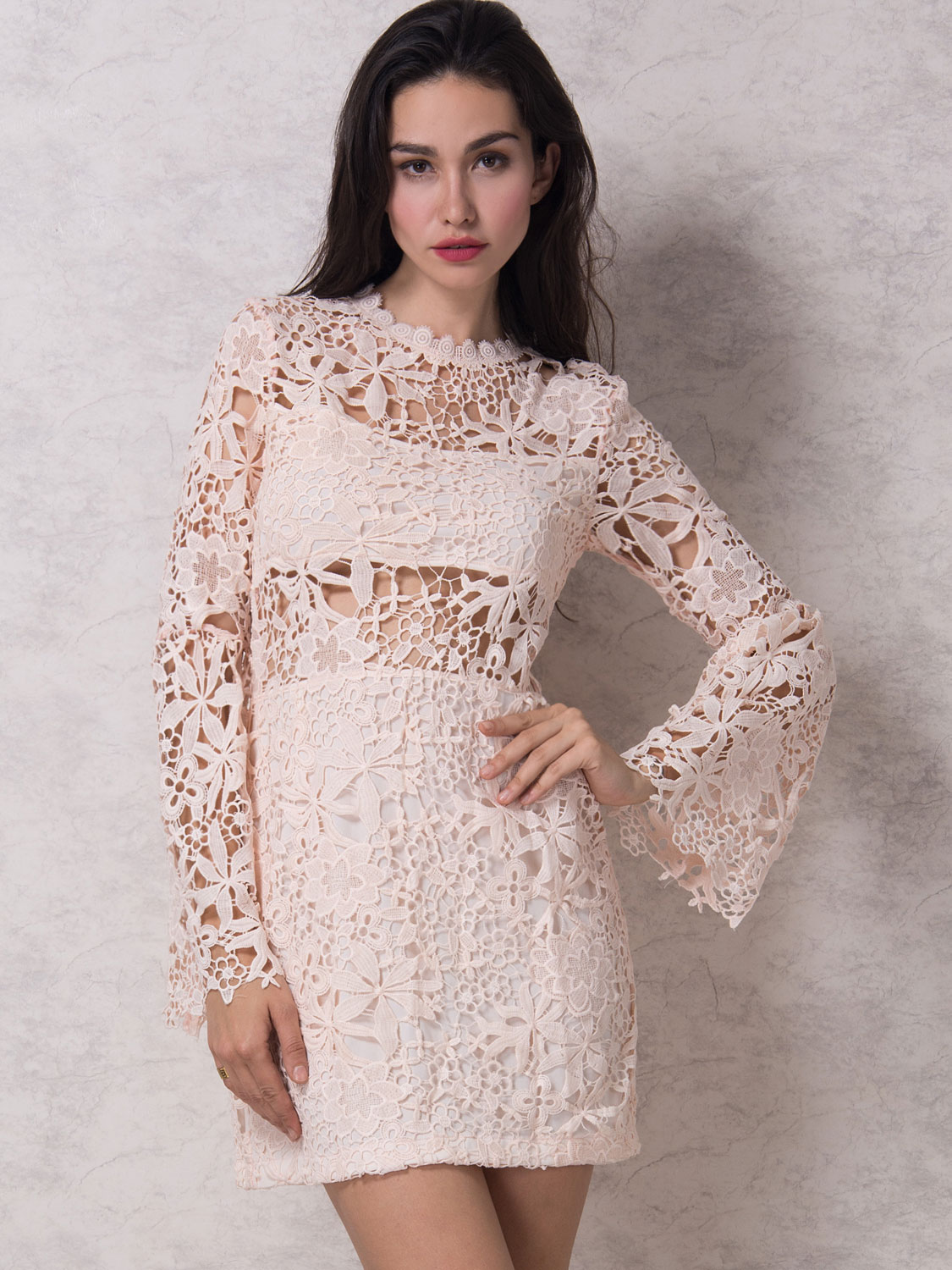 lace dresses pink flared sleeve lined crochet lace bodycon dress JTOZBHK