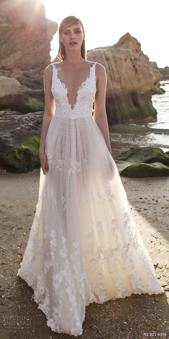lace wedding dress designer: nurit hen nurit hen royal couture v neck lace wedding dresses JWBFHPY