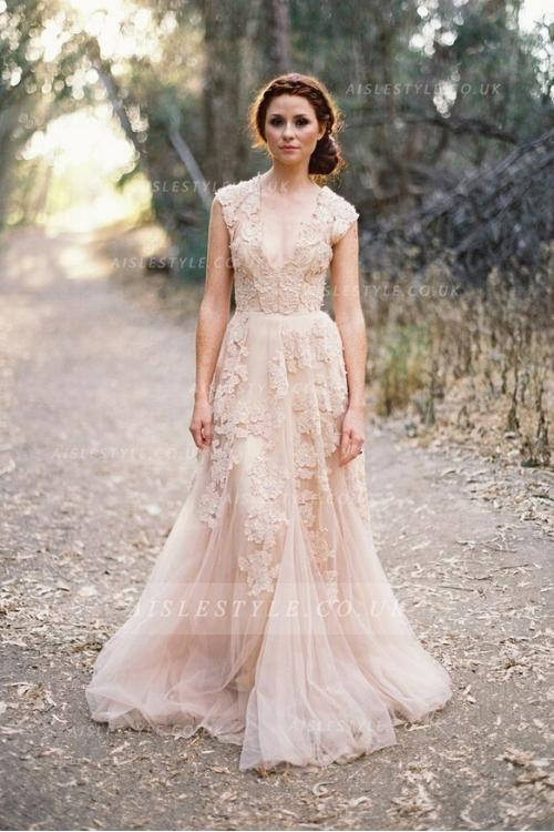 lace wedding dress floral lace trimmed long a-line tulle full back wedding dress with  exquisite lace ... GOGJJPR
