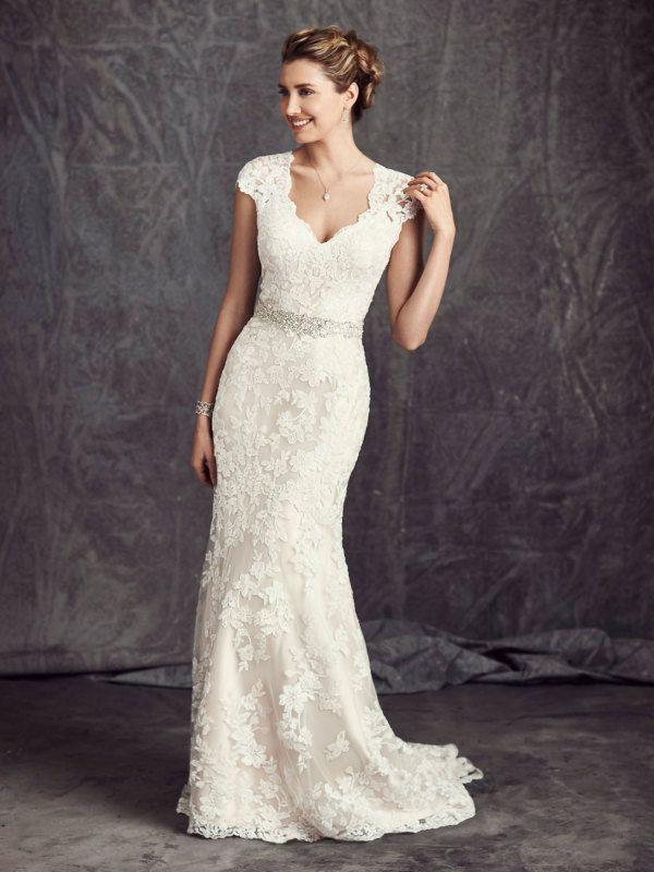 lace wedding dress off shoulder short sleeve long a-line lace beach wedding dress UKXOWOM
