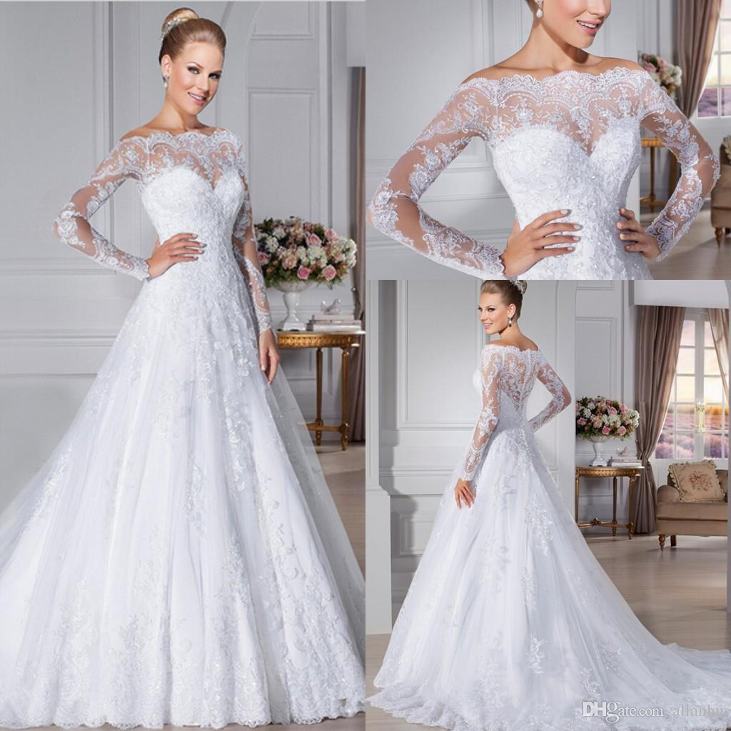 lace wedding gowns 2016 glamorous button back lace wedding dresses off the shouder sheer long  sleeves vestidos TNKUCJX