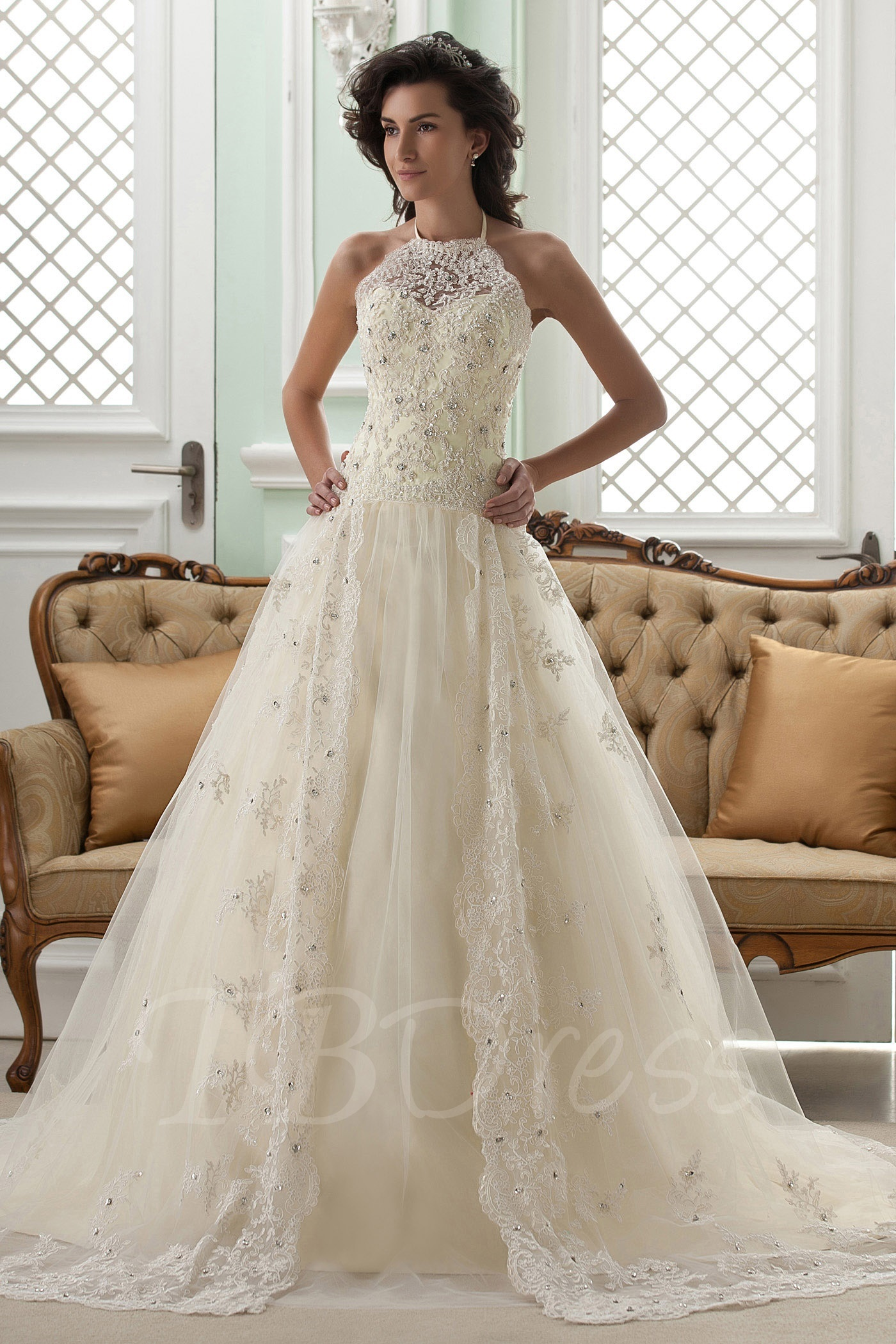 lace wedding gowns a-line halter neck sleeveless floor-length court appliques lace wedding  dress EHMPGWD