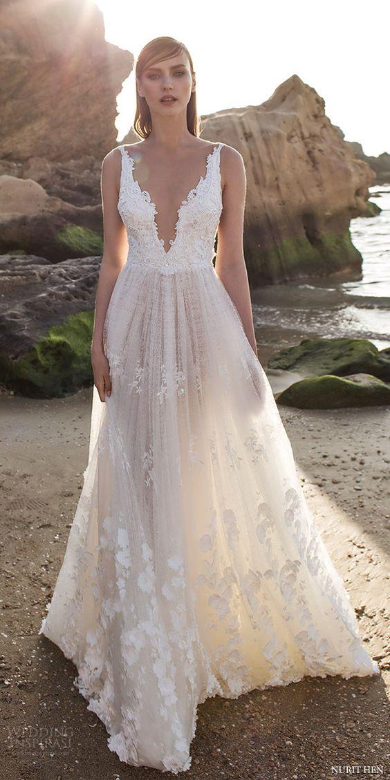 lace wedding gowns designer: nurit hen nurit hen royal couture v neck lace wedding dresses PYFXONC