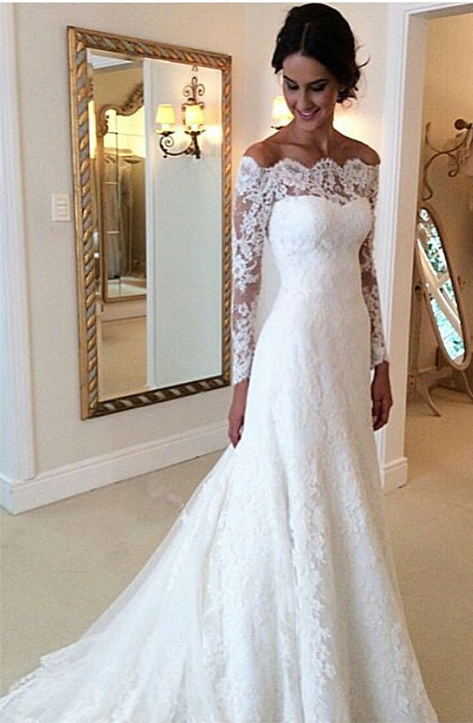 lace wedding gowns white off-the-shoulder lace long sleeve bridal gowns cheap simple custom  made wedding dress. - MJAPDOZ