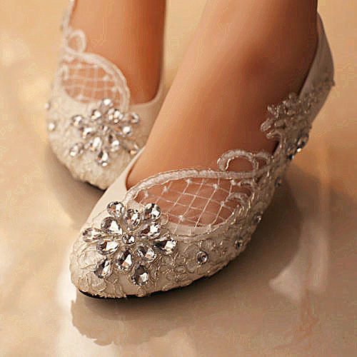lace white ivory crystal wedding shoes bridal flats low high heel pump size  5-12 ELIKWQQ