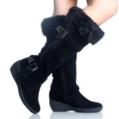 ladies boots black fur buckle boots HSXETGF
